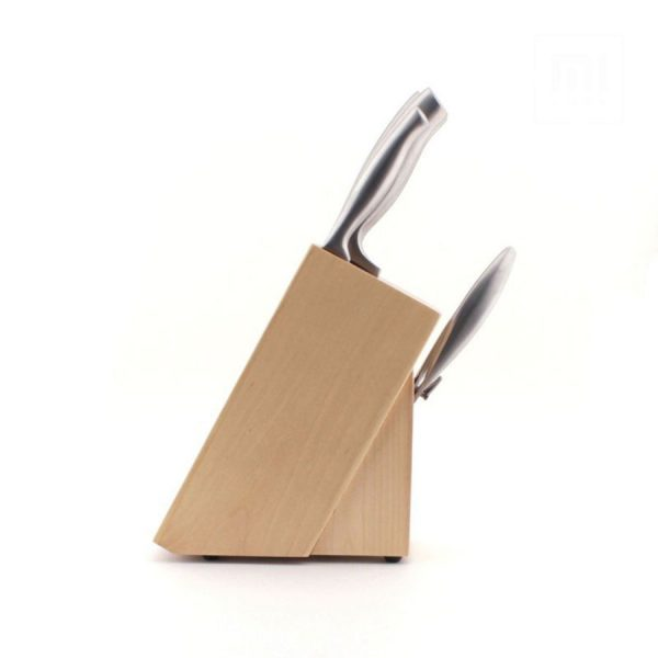 HUOHOU 5-in-1 Knife Set with Stand Seamless Knife Design Stainless Steel 4 Knives and Scissors Model: HU0014